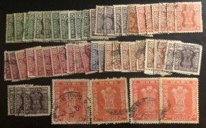 India Scott#O173-O181, O183 F/VF Used 47 stamps  Cat. $28.75