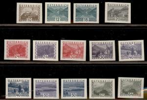 Austria 1932 Scenery Set Mi530-543 Imperf Mint Never Hinged Set Expertized 73986