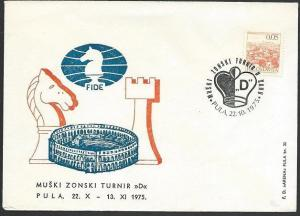 YUGOSLAVIA 1975 CHESS cover with special cancel............................49237