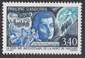 French Andorra # 409, Mozart Death Anniversary,  NH, 1/2 Cat