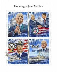HERRICKSTAMP NEW ISSUES CENTRAL AFRICA Tribute ot John McCain Sheetlet