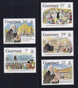 Guernsey  #362-366  MNH  1987  visit John Wesley