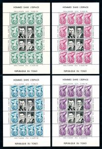 [97195] Togo 1962 Space Travel Weltraum Astronauts 4 Full Sheets MNH