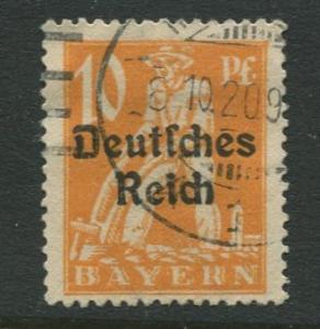 Bavaria -Scott 257 - Deutsches Reich Overprint -1920 - Used - 10pf Stamp