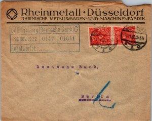 1922 Dusseldorf > Deutsche Bank Berlin 2 3 mark stamps