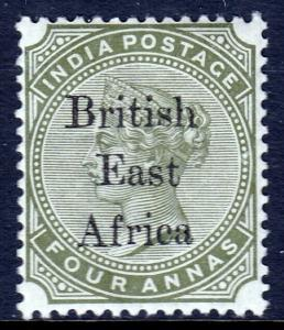 BR. EAST AFRICA — SCOTT 63 (SG 55) — 1895 QV 4a OLIVE GREEN— MH — SCV $47.50