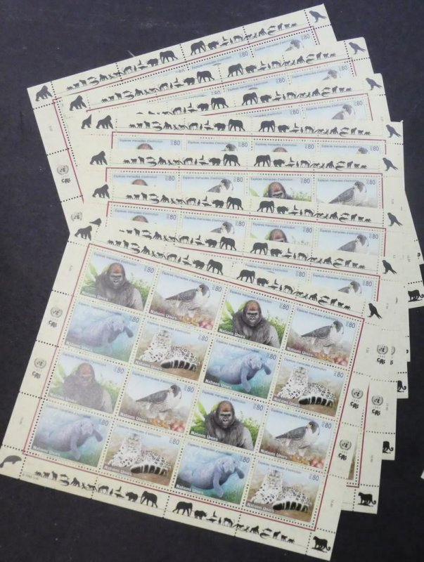 EDW1949SELL : UNITED NATIONS 1993 Endangered Animals 8 sets of Shtlts. Cat $235