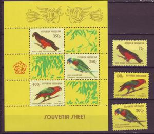 Z511 Jlstamps 1980 indonesia mh set + s/s #1104-6a birds
