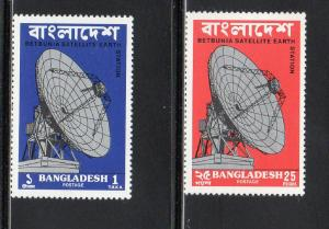 BANGLADESH #89-90  1975  OPENING OF THE EARTH STATION        MINT VF NH O.G