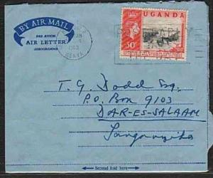 UGANDA 1963 30c Centenary on formular airletter Nairobi to Dar-Es-Salaam ..33285
