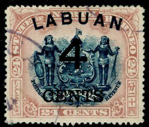 LABUAN SG107c, 4c on 24c blue & lilac-brown, FINE USED. Cat £65. P.16