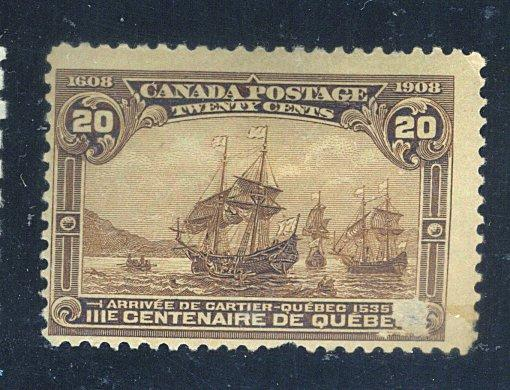Canada #103 MINT Fine OG HR Facial thin pulled perf Cat$250