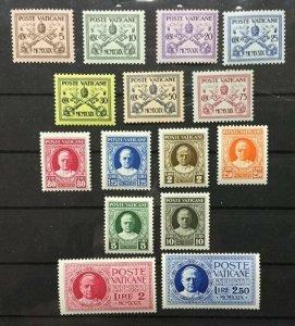 Vatican City Sc# 1-13, E1-2 MH Mint Hinged Complete set CV $ 74.85