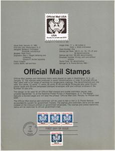 US #SP602 (O130) Official Mail USPS Souvenir Page