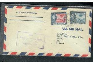 GAMBIA COVER (P3006B) 1947 KGVI 3D+2/- ELEPHANT FF A/M COVER VIA TRINIDAD TO USA
