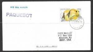 1988 Paquebot cover, Bahamas Fish stamp used at Yokohama, Japan