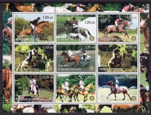 Turkmenistan 2001 POLO/ROTARY INTERNATIONAL/HORSES Sheetlet (9) Perforated MNH