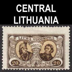 Central Lithuania Scott 42 perf 13 1/2 Fine mint OG HH.