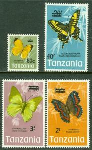 EDW1949SELL : TANZANIA 1975 Scott #50-53 Butterflies. Scarce set. Catalog $48.00