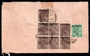 Burma KGV 1937 Airmail Cover Multi Stamp to UK WS15026