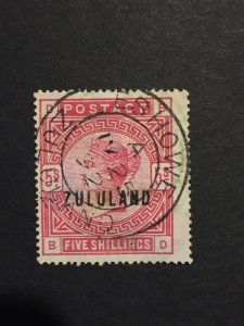 1892 Zululand SG#11 South Africa stamp 5 shillings B-D