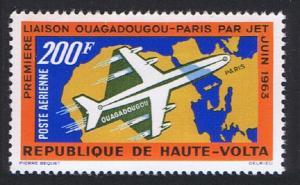 Upper Volta First Jet- flight Ouagadougou Paris 1v 1963 MNH SG#133 CV£5.25