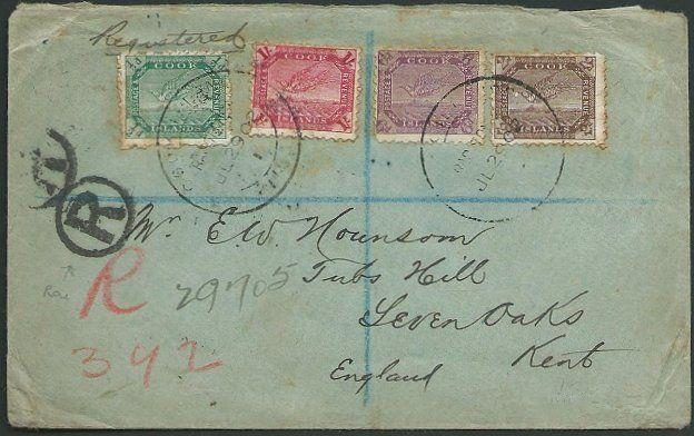 COOK ISLANDS 1902 Registered cover to UK, 4 vals to 1/- ex Rarotonga.......38909