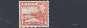 CYPRUS  1944  S G 154A  1PI ORANGE P 13 1/2 X 12 1/2  SCARCE MH CAT £550