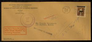 PHILIPPINES JAPAN OCCUPATION 1944 OFFICIAL Corner Card Cover RETURN TO SENDER