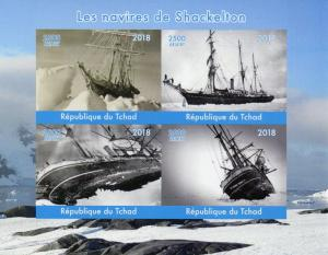 Chad Ships Stamps 2018 MNH Shackleton Boats Nautical Exploration 4v IMPF M/S