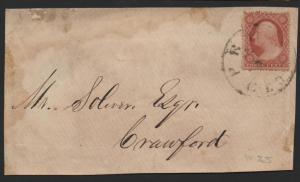 US Scott #25 on Cover Front Pryor GA CDS Cancel Helbock 7 Rarity DPO 1857-1867