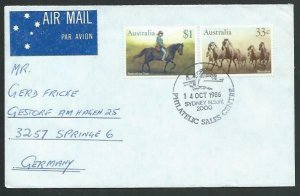 AUSTRALIA 1986 cover to Germany - nice franking - Sydney pictorial pmk.....12871