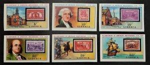 Liberia 703-08 var. 1975 American Revolution Bicentennial, imperforate, NH
