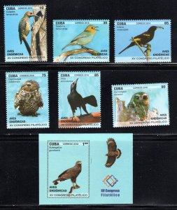 CUBA Sc# 6108-6114  ENDEMIC BIRDS Cpl set of 6 + Souvenir Sheet  2018 MNH mint