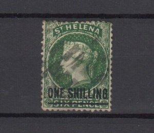 St Helena QV 1871 1/- On 6d Green SG19 Fine Used JK6276