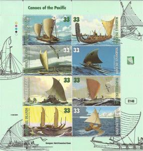 Marshall Islands - 1999 Canoes of the Pacific - 8 Stamp Sheet #690
