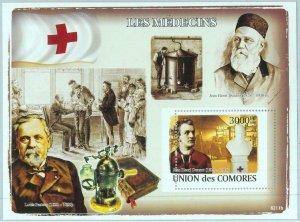 A0341 - COMOROS, ERROR, MISPERF, Souvenir sheet: 2008, Pasteur, Dunant, Medicine