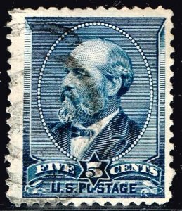 US STAMP #216 – 1888 5c Garfield, indigo USED STAMP