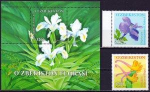Uzbekistan. 2014. 1073-74 bl68. Flowers. MNH.