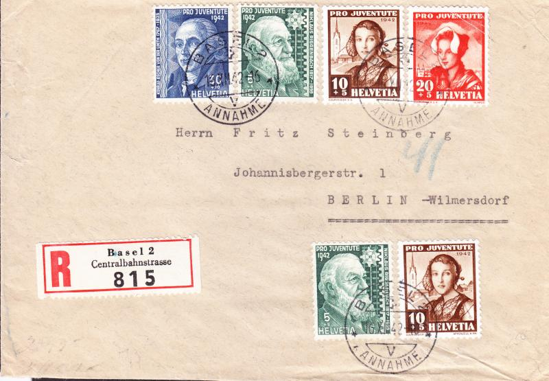 Swiss Pro-Juventute  1942 Registered & Censored Cover to Berlin Zum.No.J101-4