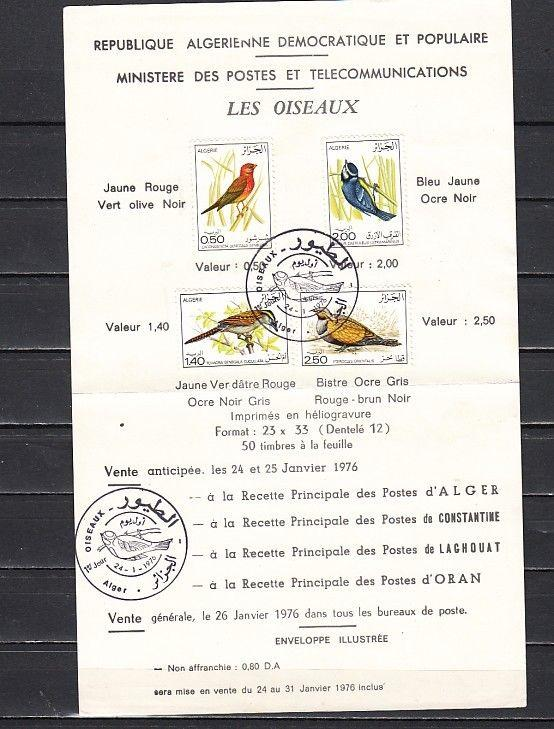 Algeria, Scott cat. 563-566. Various Birds issue on a First day Postal Bulletin.