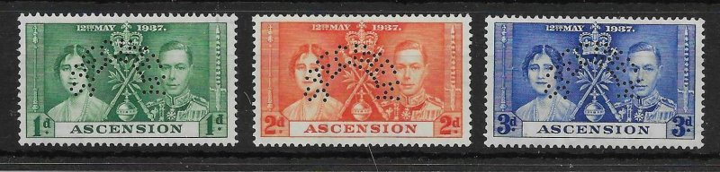 ASCENSION SG35s/7s 1939 CORONATION SET PERF SPECIMEN MTD MINT