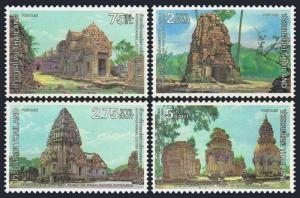 Thailand 925-928,lightly hinged.Michel 949-952.Letter writing week,1980.Temples.