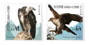 CYPRUS/2019, EUROPA CEPT (RARE BIRDS) (EAGLE, VULTURE), MNH