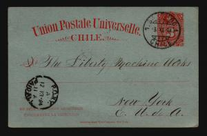 Chile 1894 Postal Card to NY - Z14681