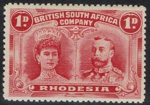 RHODESIA 1910 KGV DOUBLE HEAD 1D PERF 14