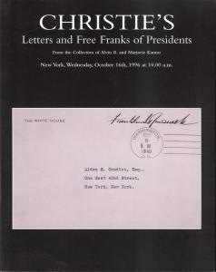 Letters and Free Franks of Presidents From the Collection...
