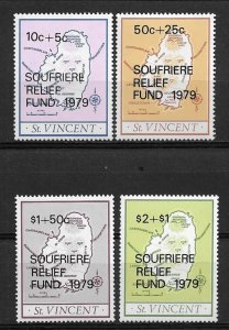 1979 St Vincent B1-4 Soufriere Volcano Victims Relief Fund C/S of 4 MNH