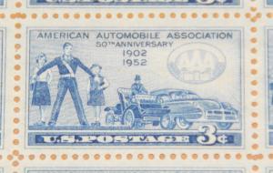 1952 sheet - AAA 50th Anniversary Sc# 1007