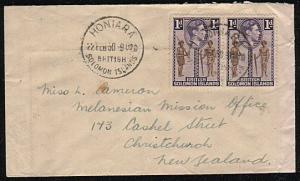SOLOMON IS 1950 commercial mission cover to New Zealand ex Honiara.........44565